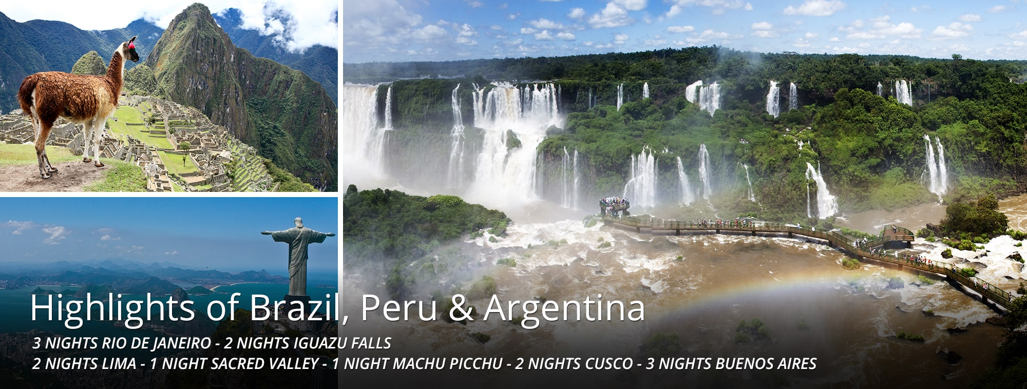 Highlights of Brazil, Peru & Argentina Tour Banner