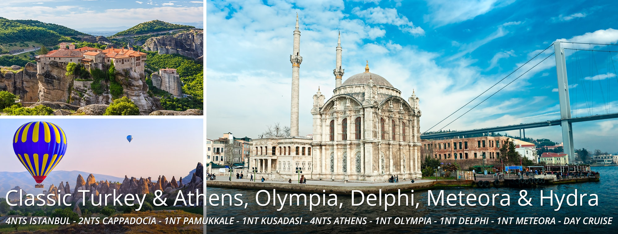 Classic Turkey & Athens, Olympia, Delphi, Meteora, and Hydra Tour Top Banner