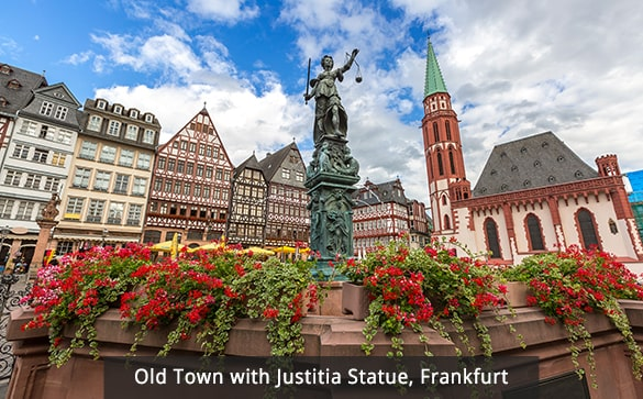 Old Town with Justitia Statue, Frankfurt