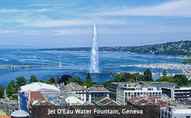 Jet D'Eau Water Fountain, Geneva