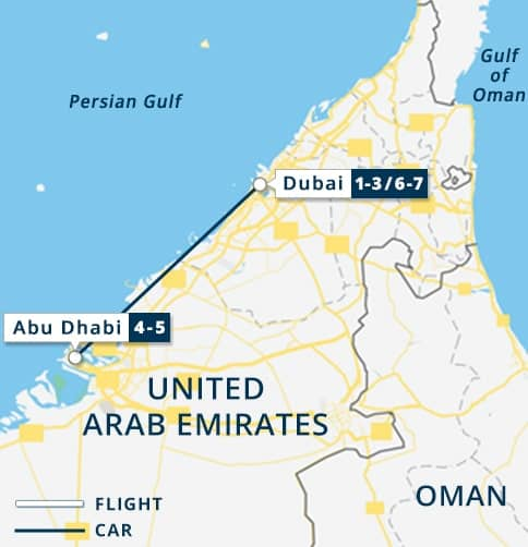 best of dubai abu dhabi map
