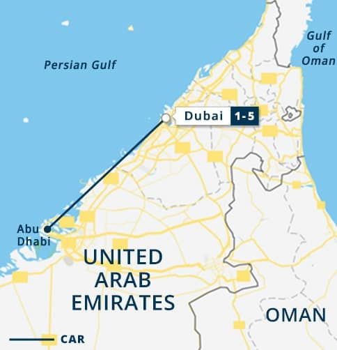 Dubai & Abu Dhabi Short Stay Tour Map