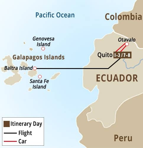 Galapagos - Quito - Otavalo Tour Map