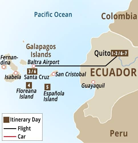 Galapagos Yacht Tour - 20 to 36 Passengers Map