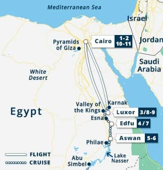 7 Nights Nile Cruise with Excursion Map