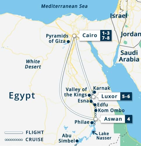 Classic Egypt Tour Map