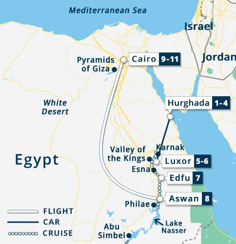 Best of Egypt & 3 Nights Red Sea Tour Map