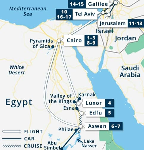 Best of Egypt & Israel Tour Map