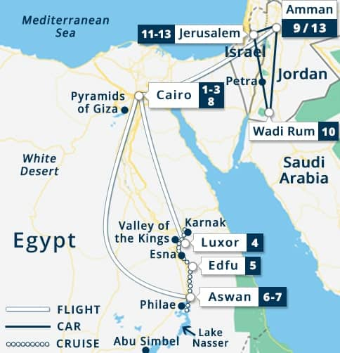 Best of Egypt Nile Goddess - Jordan - Israel Tour Map