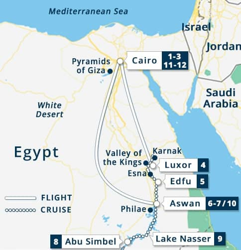 Best of Egypt Nile Goddess with Lake Nasser Tour Map