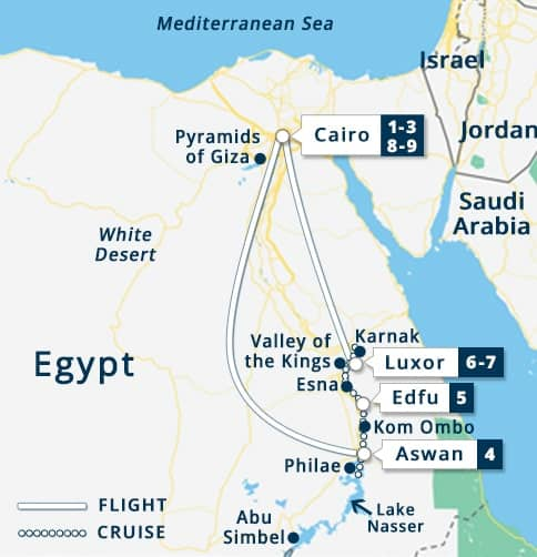 Best of Egypt Sonesta Moon Goddess Tour Map