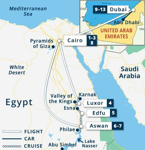egypt dubai tour map