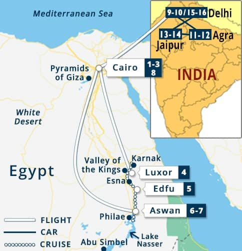Pyramids In Egypt Map.Egypt India Tours Egypt India Vacation Packages Egypt