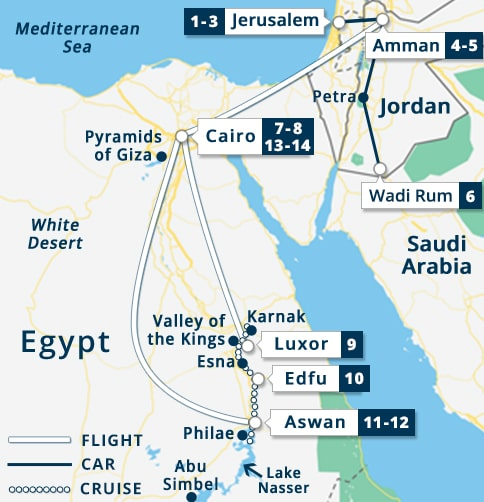 Israel - Jordan - Egypt Tour Map