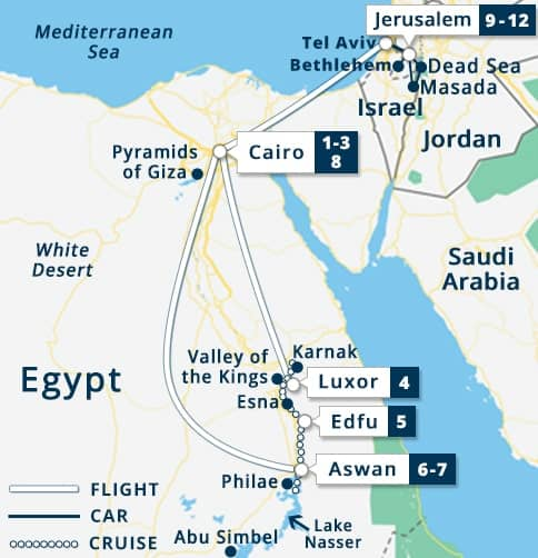 Egypt Israel Tour Map