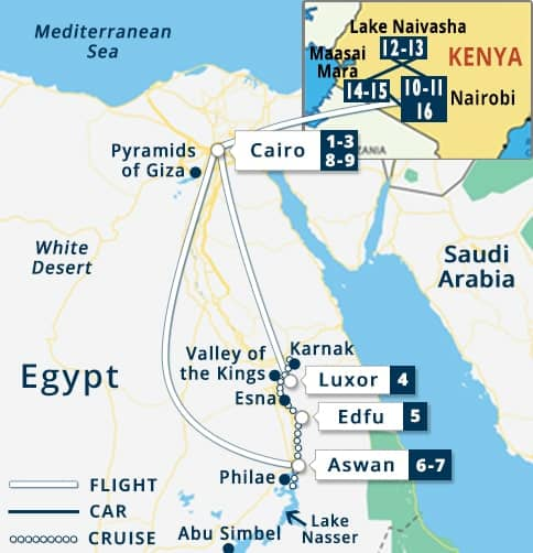 Egypt - Kenya Tour Map