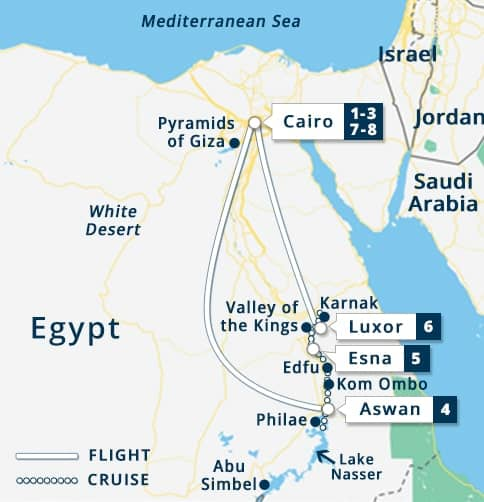 Nile Goddess Classic Egypt Tour Map