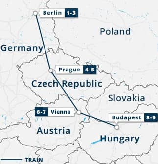 Berlin, Prague, Vienna & Budapest Tour Map