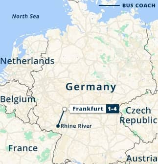 Frankfurt & Romantic Rhine River Tour Map