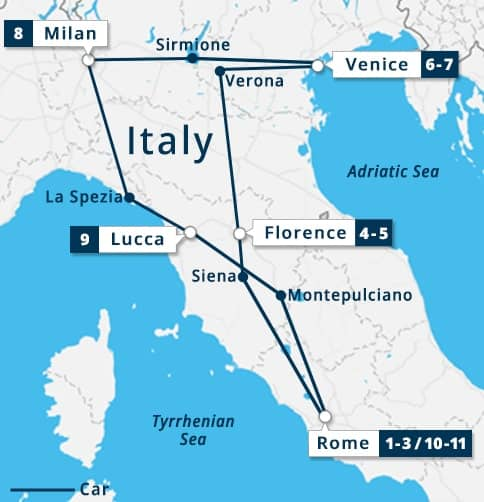 Classic Italy Tour Map