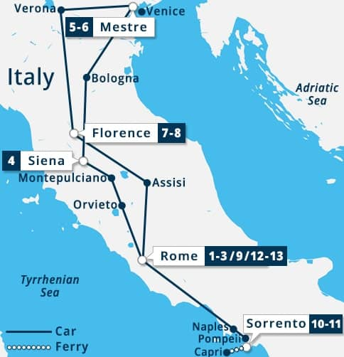 Grand Tour of Italy Map