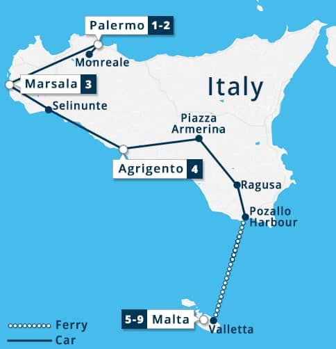 Highlights of Sicily & Malta Tour Map