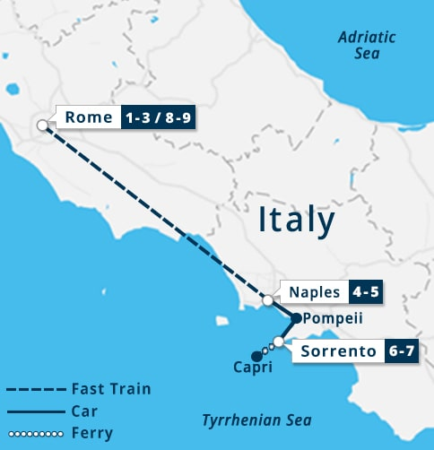 Pompeii World Map.Rome Naples Pompeii Sorrento Capri Tour Walking Tour Of Rome