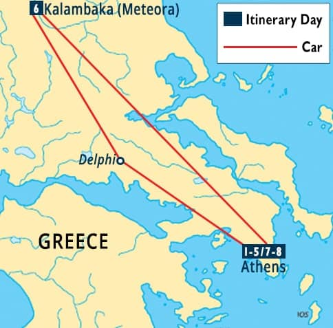Athens, Delphi & Meteora Tour Map
