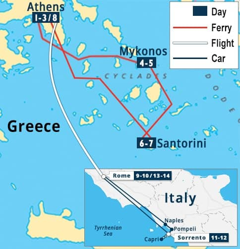 Athens, Greek Islands, & Rome, Sorrento Escape Tour Map