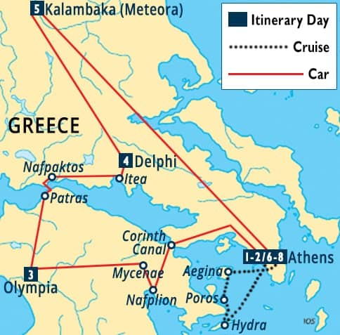 Poros Greece Map.Athens Olympia Delphi Meteora Hydra Tour Athens Greece
