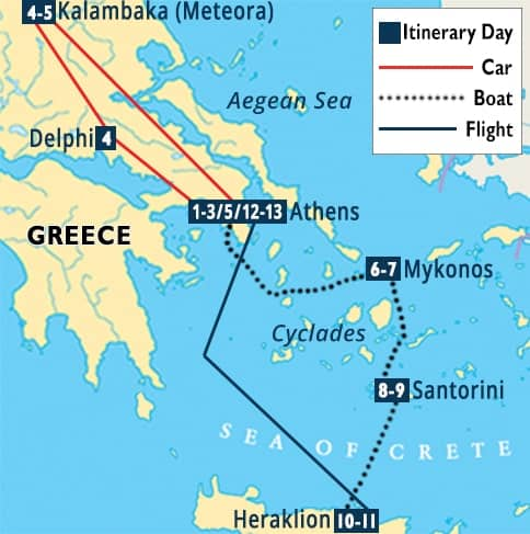 Best of Greece Tour Map