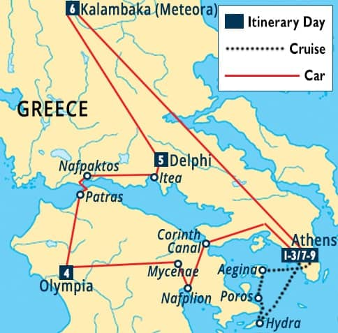 Classic Greece Tour Map