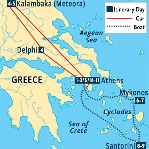 Classic Greece and the Islands Tour Map