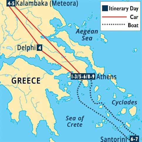 Highlights of Greece Tour Map
