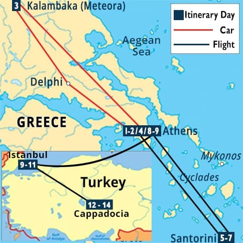 Jewels of Greece, Santorini, Istanbul & Cappadocia Tour Map