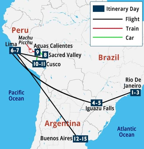 Highlights of Brazil, Peru & Argentina Tour Map