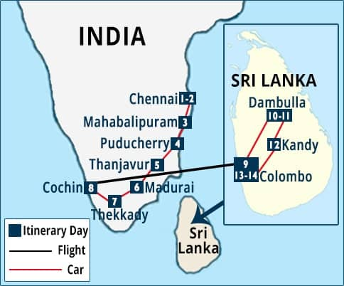 South India - Sri Lanka Tour Map