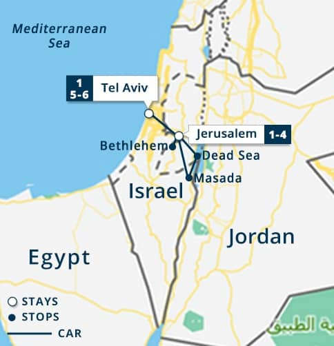 Highlights of Israel Tour Map