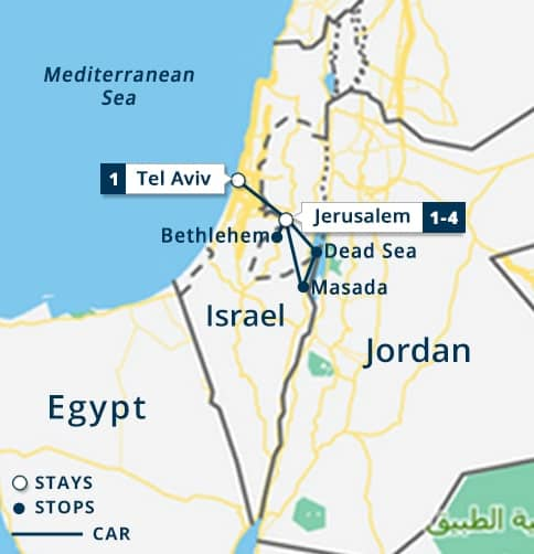 Jordan & Israel Short Stay Map