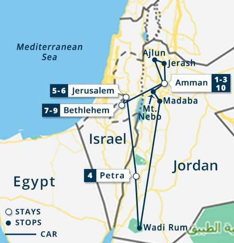 3 nights Jordan & 5 nights Holy Land Tour Map