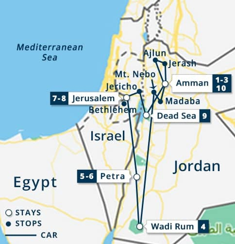 Explore Jordan & 2nts Jerusalem Tour Map