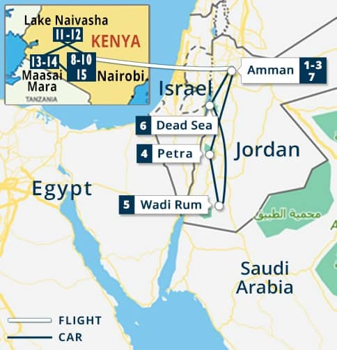 Jordan - Kenya Tour Map