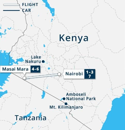 Classic Masai Mara Flying Safari Tour Map