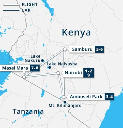 Kenya Flying Safari Tour Map