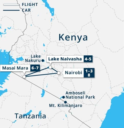 Masai Mara - Kenya Safari Tour Map