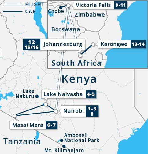 Kenya - South Africa - Victoria Falls Tour Map