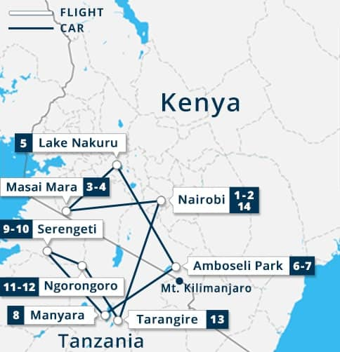 Kenya - Tanzania 14 Days Tour Map