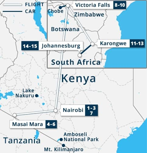 Kenya, Victoria Falls & South Africa Tour Map