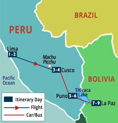 Best of Peru - Bolivia Tour Map