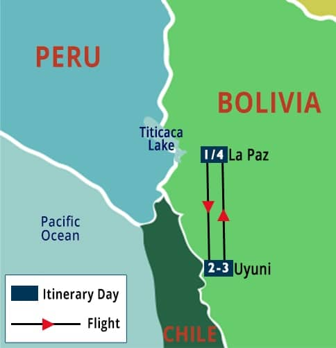 Bolivia Uyuni Salt Flats Short Stay Map